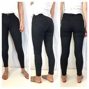 Free People Hi Rise Black Skinny Jeans 25